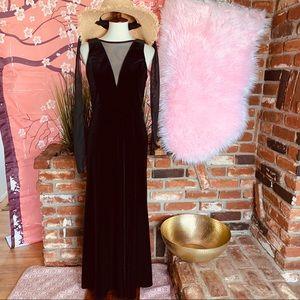 Vtg 90s Velvet Elvira Wiggle Maxi Dress S M